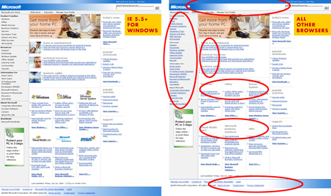 Capturas de pantalla de las dos paginas distintas que sirve Microsoft. A la izquierda (IE/Win 5.5+) con mas imágenes y más estilo que la versión a la derecha, servida a los otros navegadores.