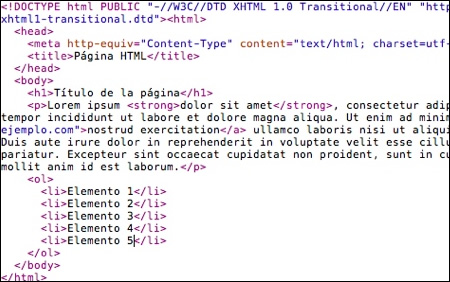 Ejemplo de HTML