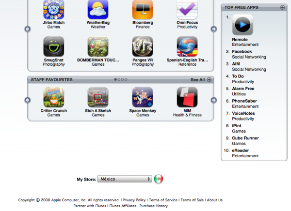 iTunes Store México con App Store