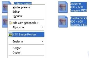 Menú de VSO Image Resizer