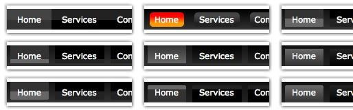 Menús horizontales en CSS Menu Builder