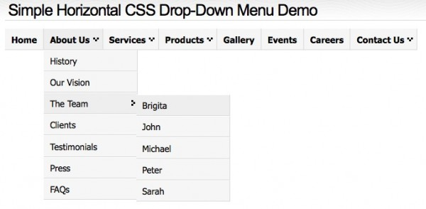 Simple Horizontal CSS Drop-Down Menu