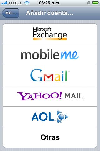Añadir cuenta de correo el iPhone