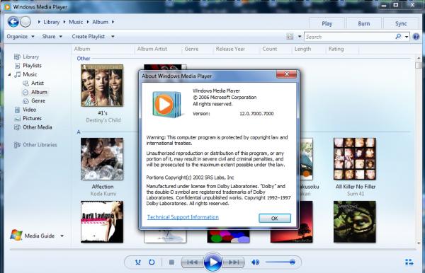 Windows Media Player 12.0.7000