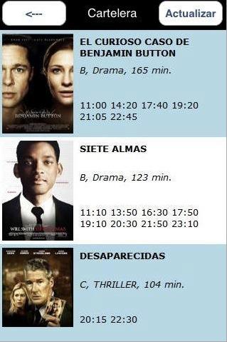 horario de peliculas en el cine: