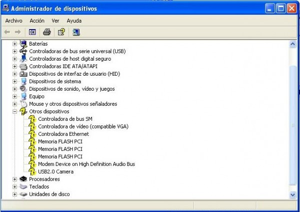 Administrador de dispositivos en Windows XP