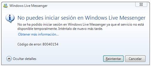 No puedes iniciar sesión en Windows Live Messenger