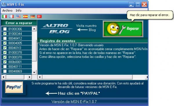 MSN E-Fix repara facilmente los errores de Windows Live Messenger (MSN)