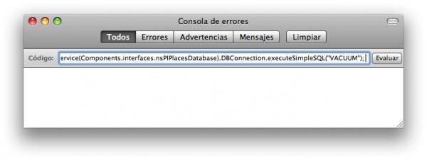 Consola de errores de Firefox