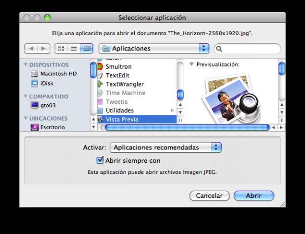 Abrir con en Mac OS X