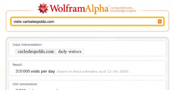 Analizar visitas con Wolfram-Alpha