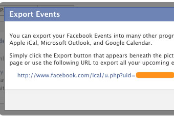 Exportar calendario de Facebook