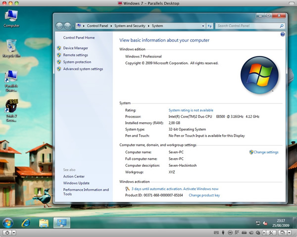 Windows 7 en Parallels