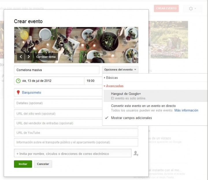 Configuracion de evento en Google Plus