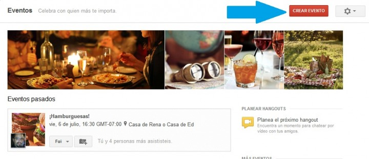 Crear Evento en Google Plus