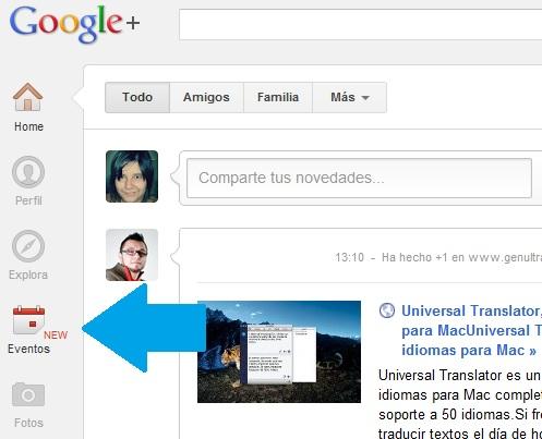 Nuevo evento en Google Plus
