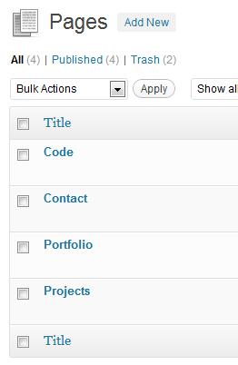 Lista de paginas WordPress
