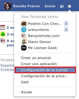 Configuracion de la cuenta Facebook