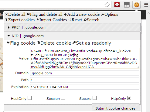 Editar Cookie en Chrome