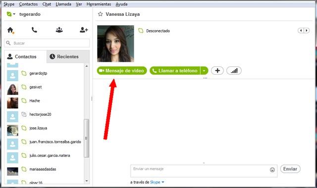 Mensaje de video skype windows 7