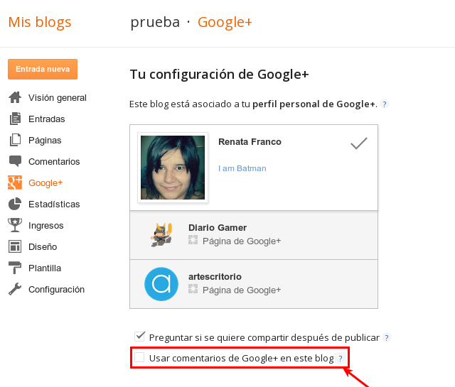 Comentarios de Google Plus en Blogger