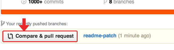 "Creando un pull request usando el botón ""Compare and Pull Request"""