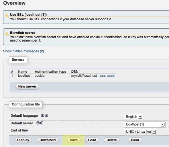 8 - guardar la configuración de phpMyAdmin