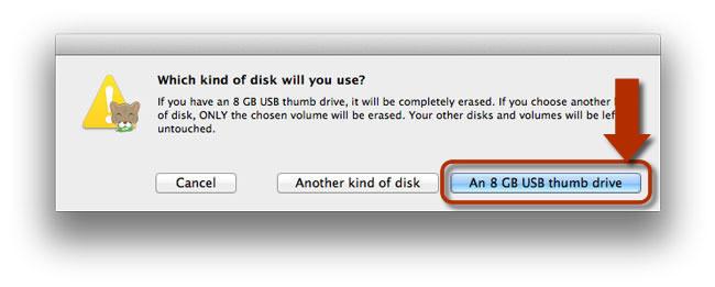Seleccionar el tipo de disco para Lion DiskMaker