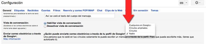 Desactivar mensajes de Google Plus en Gmail