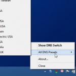Cambia los DNS fácilmente desde la bandeja del sistema entre más de 30 alternativas