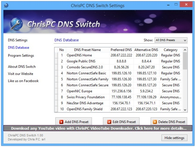 ChrisPC DNS Switch - Settings Database