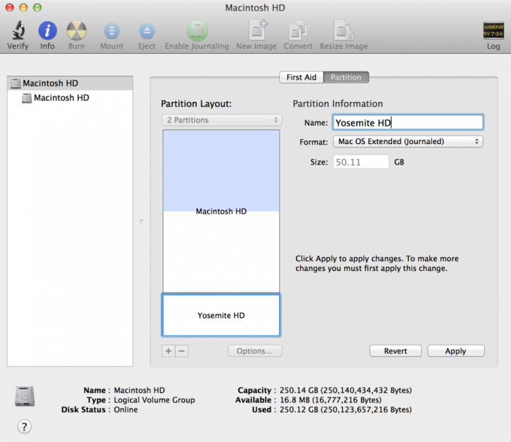 Particion para OS X Yosemite